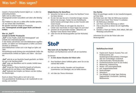 """Vorgezogener Start: Projekt """"StoP-Stadt ohne Partnergewalt"""" wird ab heute umgesetzt"""