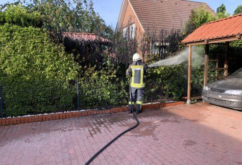 Anwohner und Feuerwehr löschen Heckenbrand in Sögel