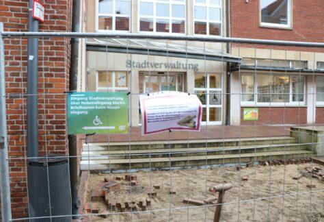 Baumaßnahmen in Fußgängerzone in Meppen